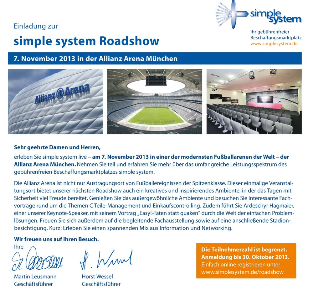 Simple System Roadshow 7.Nov. 2013 – Nordpack ist dabei